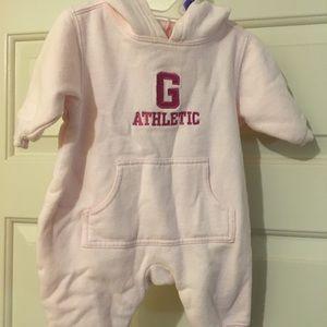 BABY GAP Fleece Jersey Hooded Onesie Size 1-3 Mo